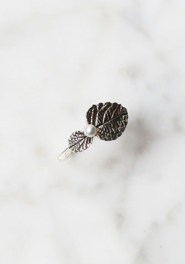 Petite Fille Female Unfinished Handmade Jewelry Mandarin Leaf Pure Silver Ring