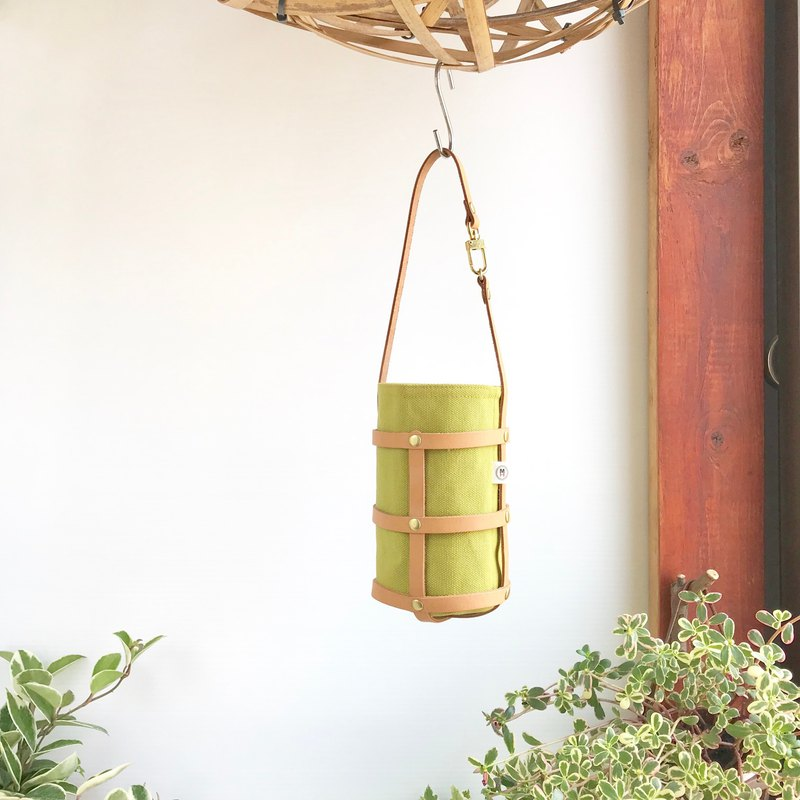 Japanese canvas green cup bag / mustard yellow