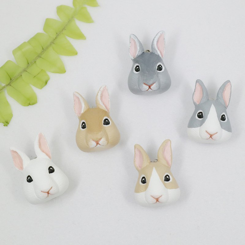 -Bunny - / Brooch / Safety Pin / Magnet / Hair Ring / Charm / Identification Card / Necklace
