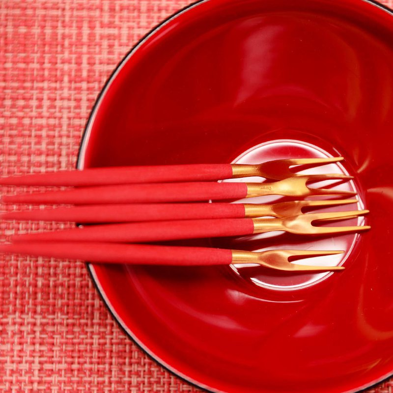 GOA RED MATTE GOLD SNAIL FORK 4 PIECES SET