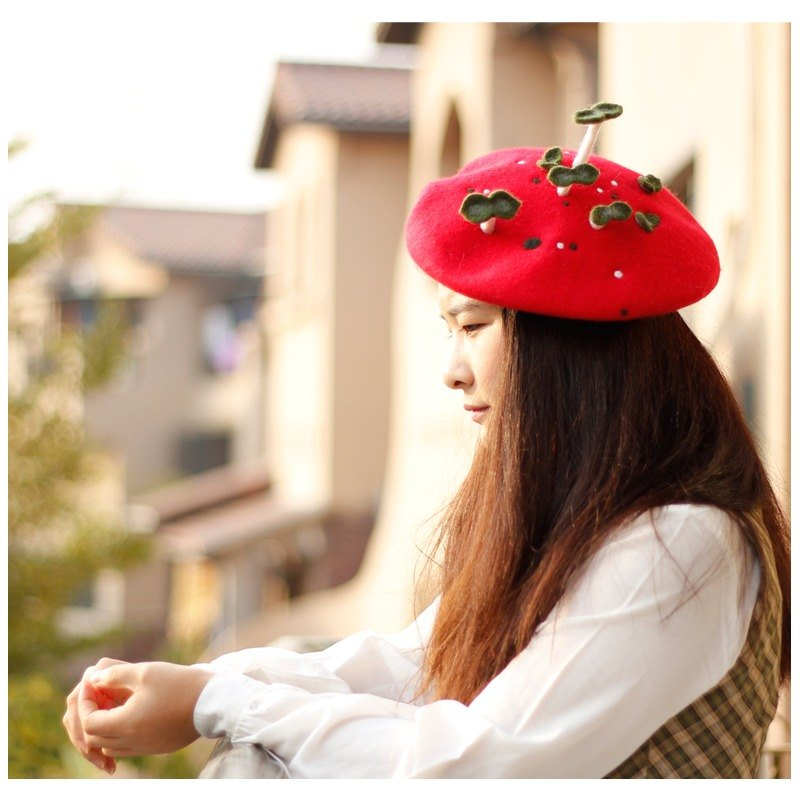 Ke people original hand felting hat bean sprouts Beret hat New Year gift painter hat blanket velvet hat female