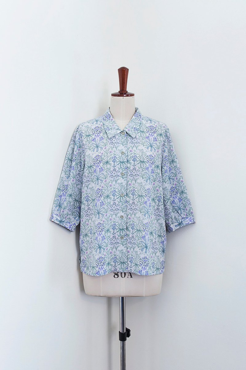 Banana Flyin vintage vintage retro five-point sleeve flower shirt