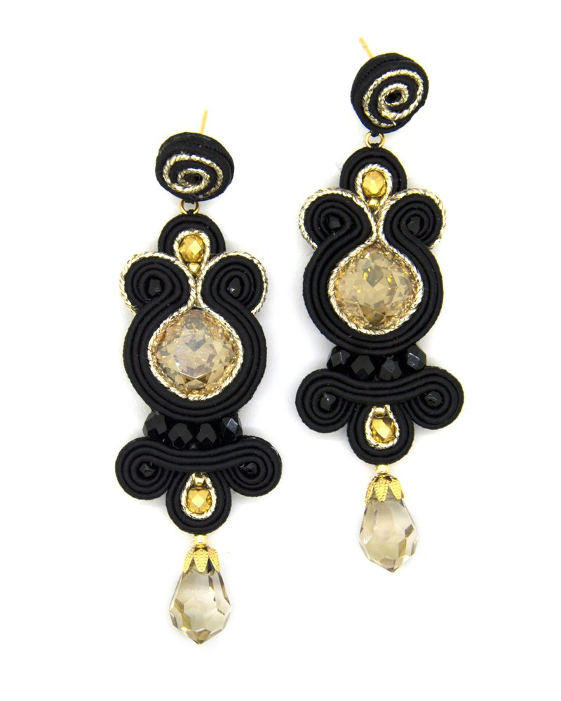 Drop earrings with Swarovski stones in black and gold color