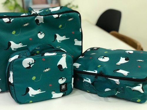 Travel Storage Bag Set, Water repellent, Super light - Cat Green