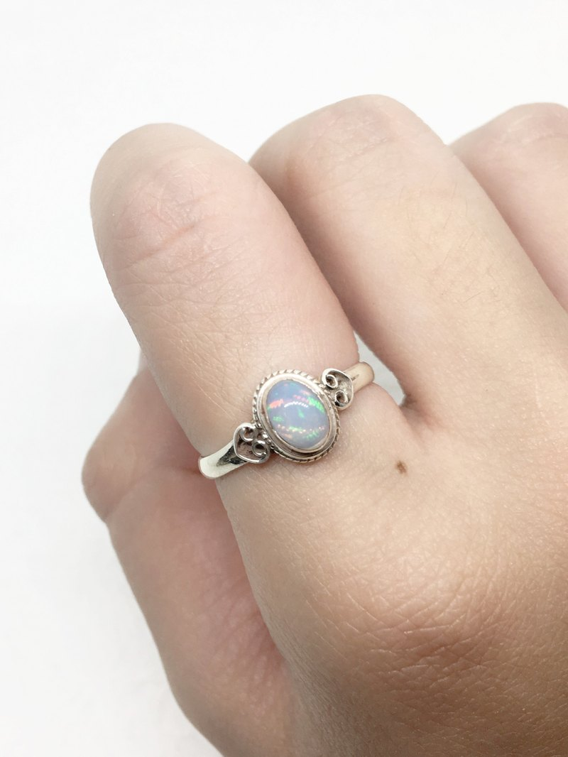 Opal 925 sterling silver heart-shaped design ring Nepal handmade mosaic production