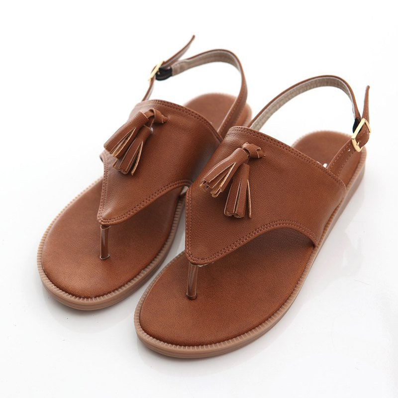[ZUCCA] fringed leather pin flat sandals - brown - z6615ce