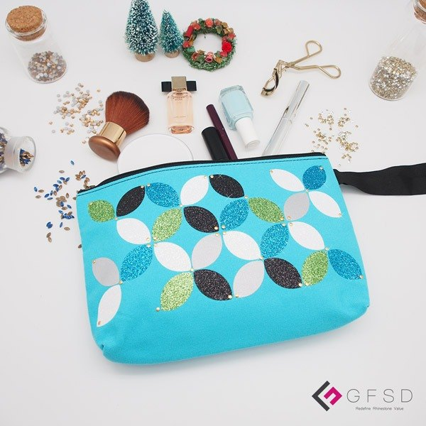 【GFSD】 Rhinestone Boutique - Simple Series - Sky Blue [Kaleidoscope] Handmade Cosmetic Bag