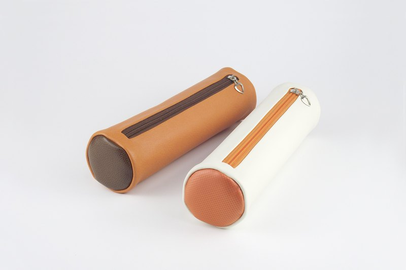 Color matching art cylinder pen travel storage bag large capacity leather stationery bag orange / brown / beige