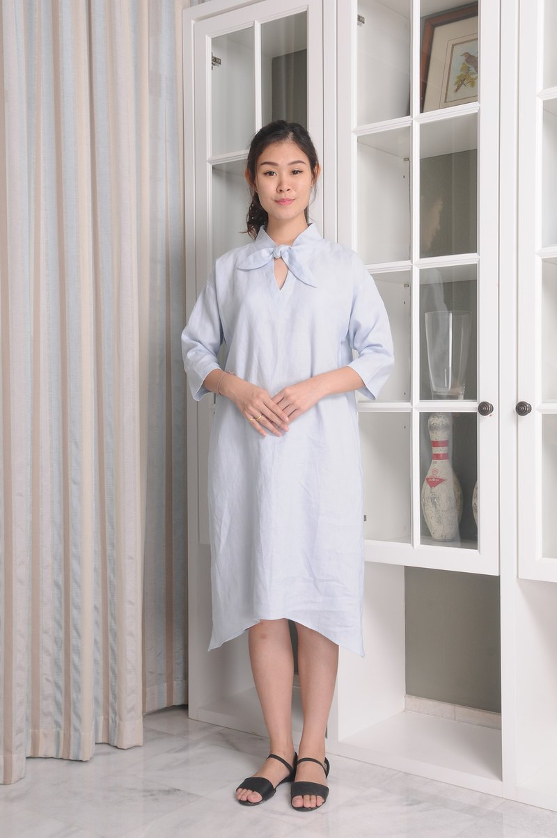 Linen Dress / Ribbon Neckline Linen Dress / Loose Fitted / 3/4 sleeved / EP-D659
