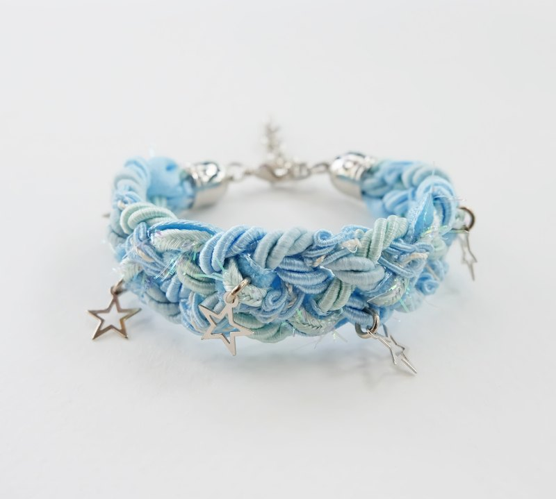 Blue/mint braided bracelet with silver stars