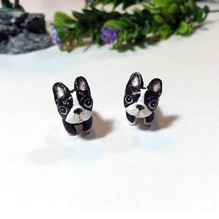 Tuxedo French Bulldog Earrings, Gauge & Plug Earrings, Two Piece Earrings