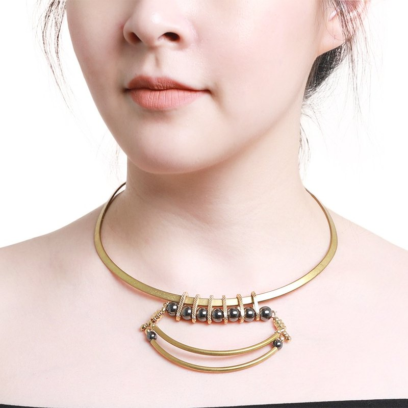 Statement Andaz Choker - Handmade choker in worn gold