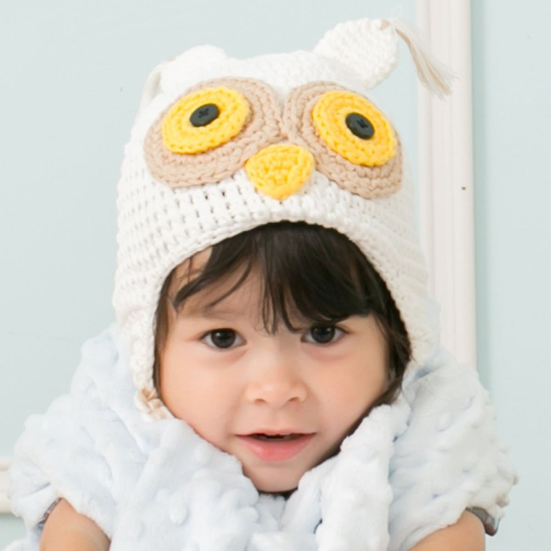 Cutie Bella手工編織帽Owl-Cream/Yellow Eyes