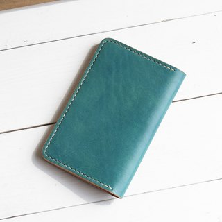 Minimal marine blue hand dyed yak leather handmade passport holder