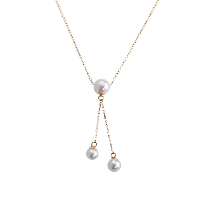 Japan Akoya Pearl Double Pendant Necklace (Yellow Gold)