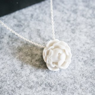 Peony necklace - white porcelain - sterling silver (925)