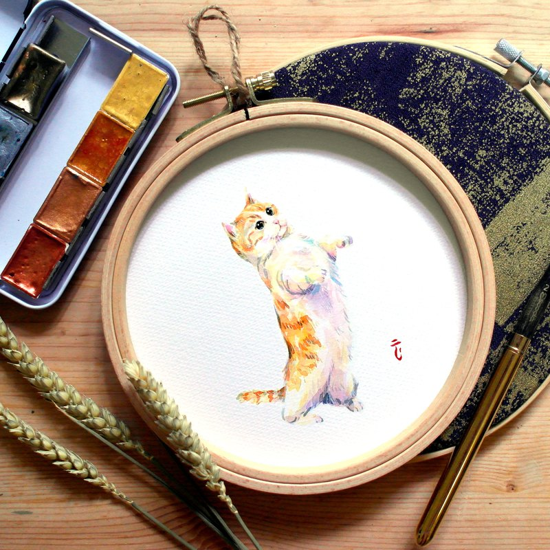 All kinds of animals – Mancheon Cat (with round frame)