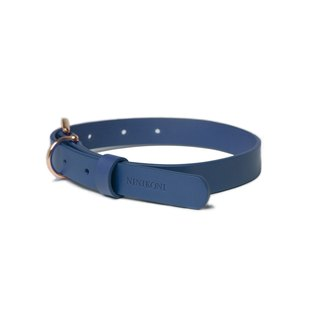 Cittadino Italian vegetable tanned leather collar - Moonlight Blue