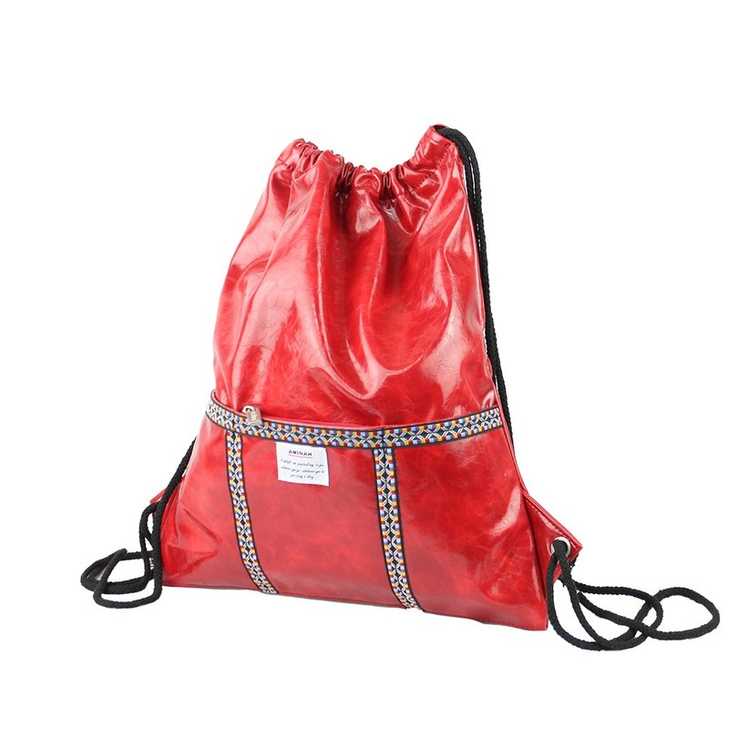 AMINAH-red totem leather braided backpack [am-0285]