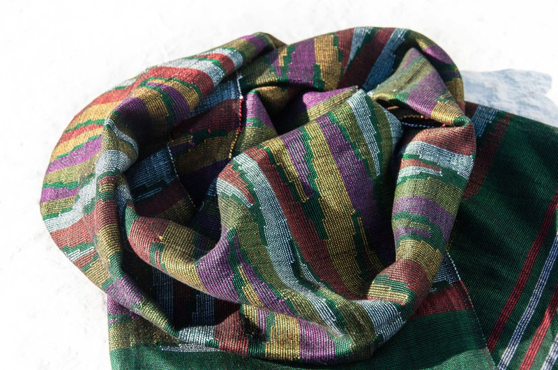 Hand-knitted silk scarves / traditional Dhaka woven scarves / ethnic wind scarves / - Rainbow geometric grassland Dhaka weaving