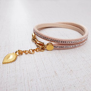 Pink suede diamond bracelet K gold buckle adjustable hand circumference