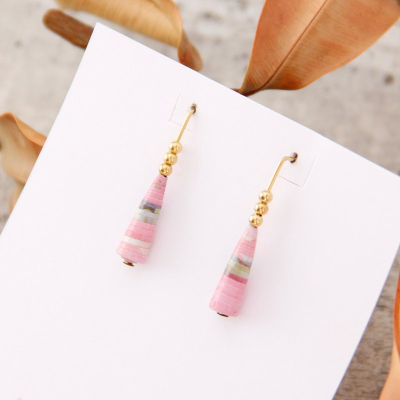[Small paper hand made / paper art / jewelry] pink pattern minimalist L-shaped earrings