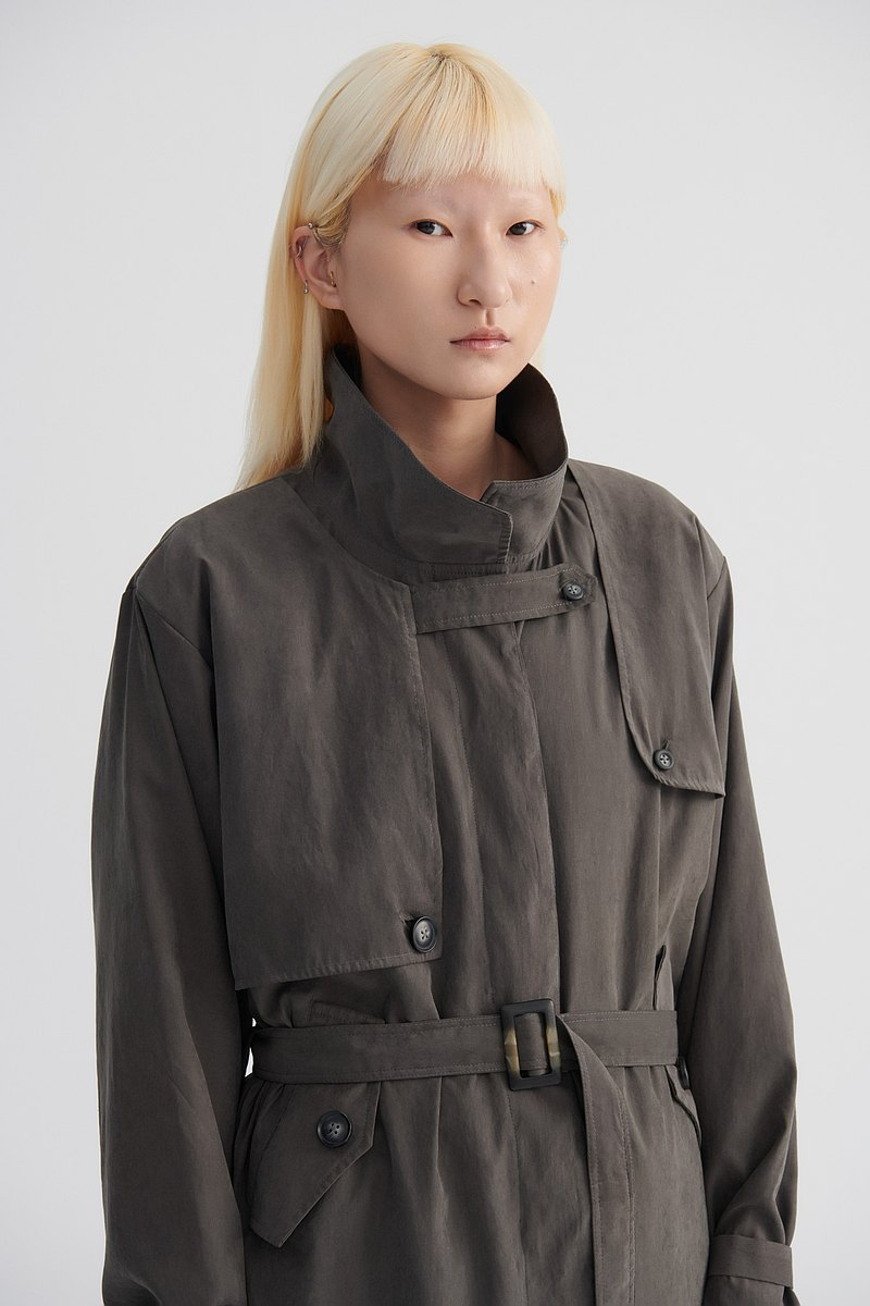 Shan Yong 豎領落肩單排釦偵探造型輕柔風衣(共兩色)