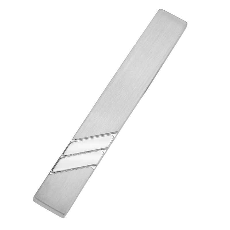 50mm Shiny Reep Stripe and Brush Silver Tie Clips