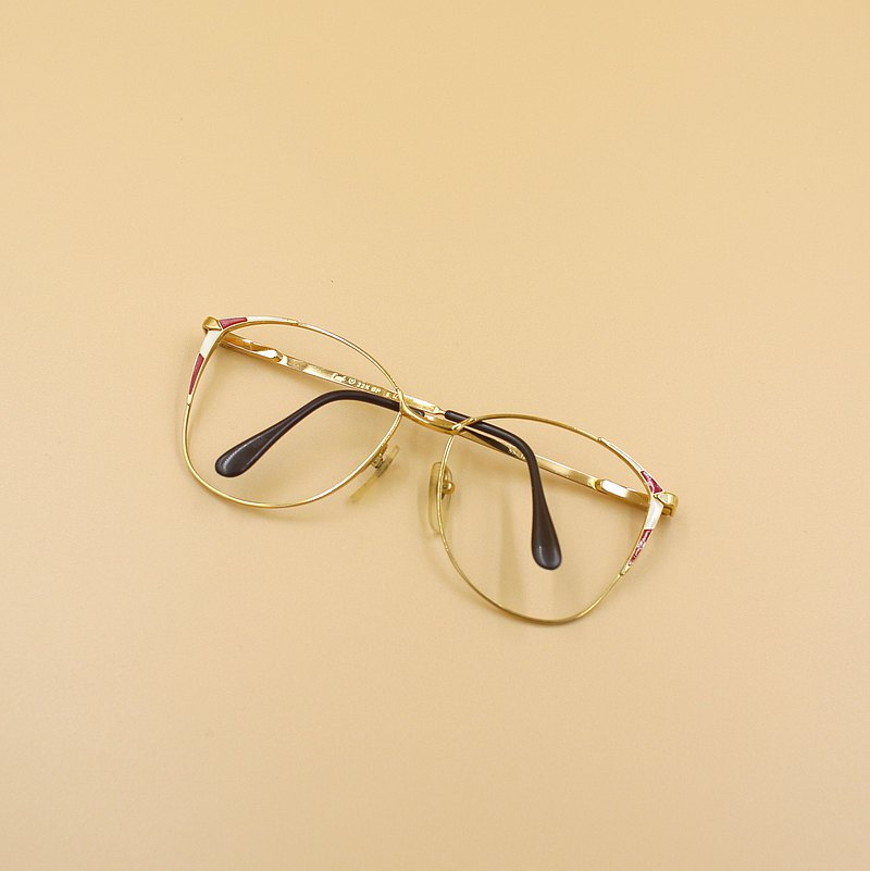 Back to Green :: Vintage glasses g10 22K gold-plated lensless vintage glasses