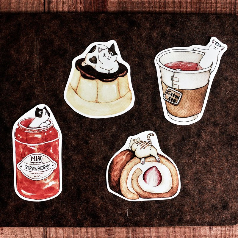 Cat Food Sticker / Strawberry Jam / Pudding / Strawberry Cake Roll / Black Tea - Sticker