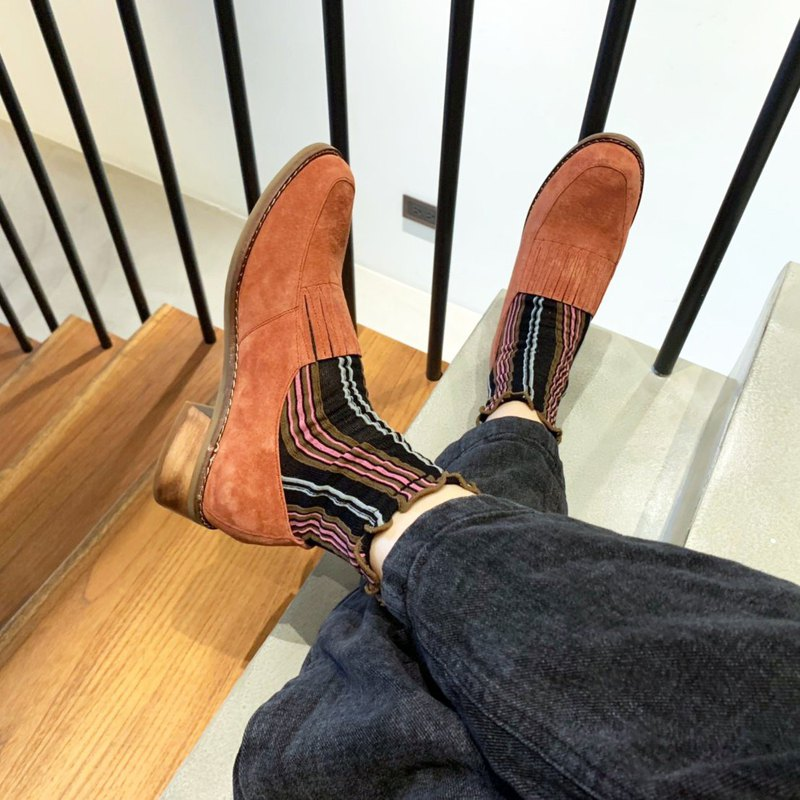 No heavy and light bottom! Elastic small apron Loafers MIT inside and outside full leather 3M light waterproof _ burning red orange