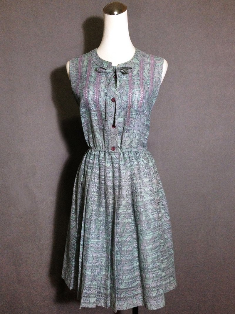 Ping-pong vintage [vintage dress / lake green thread empty bow tie sleeveless vintage dress] abroad back VINTAGE