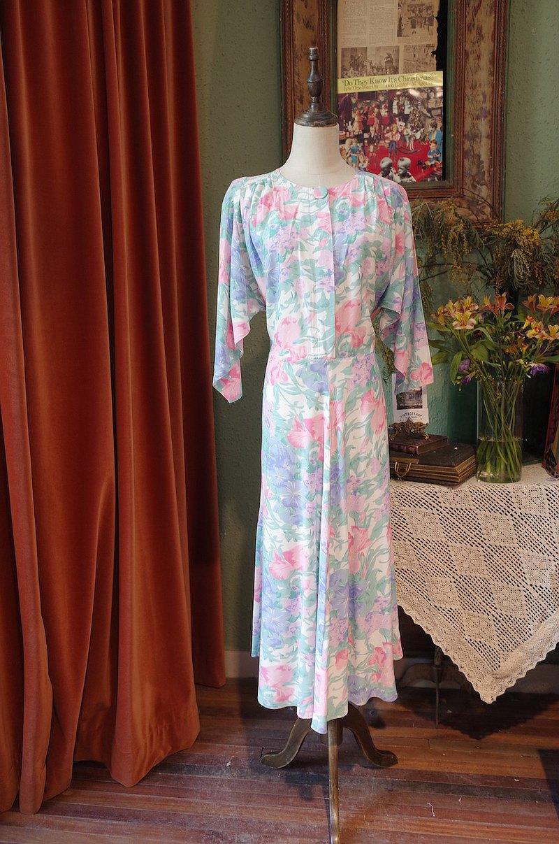vintagedress美產印花連衣裙 古著洋裝
