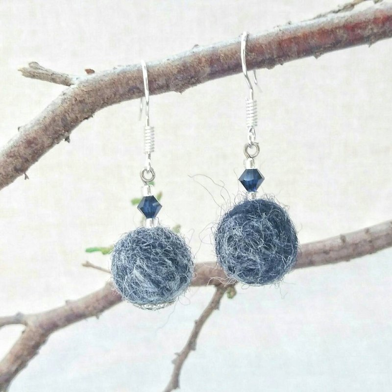 Cloudy Sky - Handmade Felt Earrings with Swarovski Crystals (Clip-on Available)