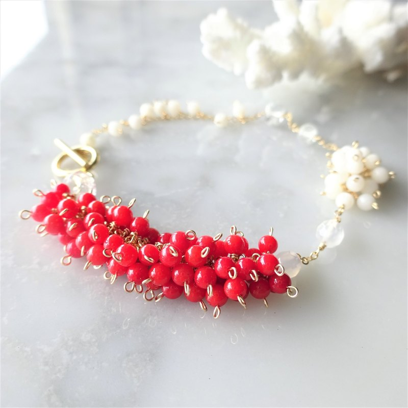 14kgf Red Coral*station bracelet