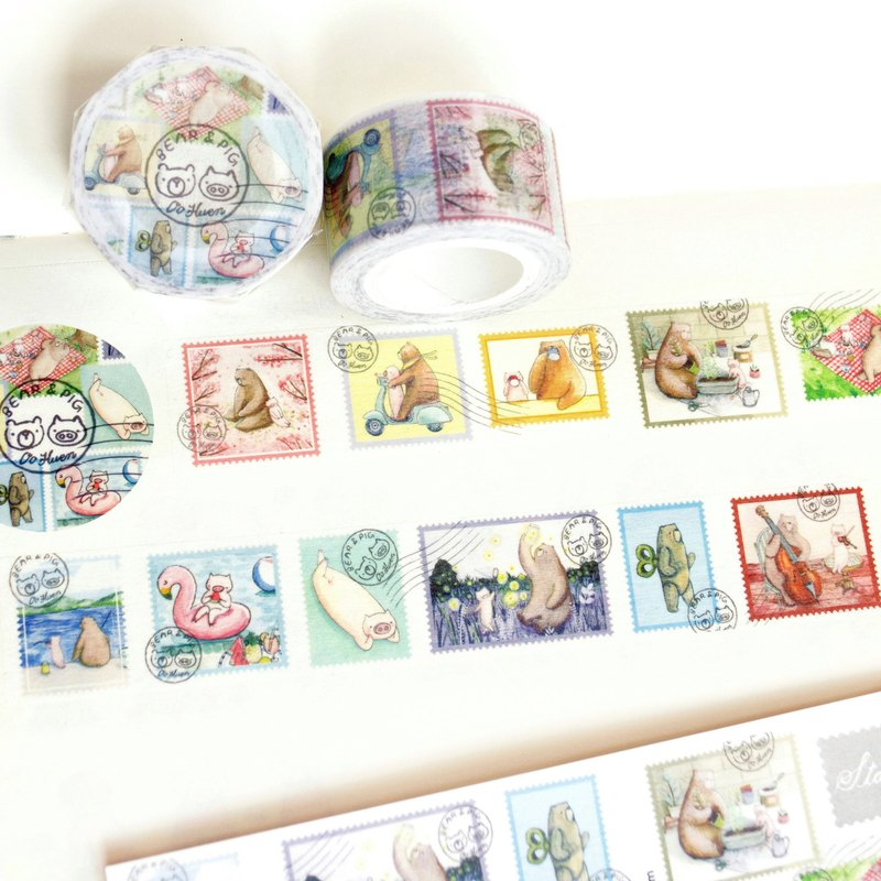 Bear & Pig Stamp-masking tape (2.5cm (w))