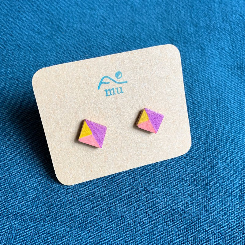 Summer pastel candy earrings _01 square leather hand-painted hand-made