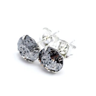 Silver 'Meteorite' Crystal Earrings, Sterling Silver, 8mm Round, 耳釘