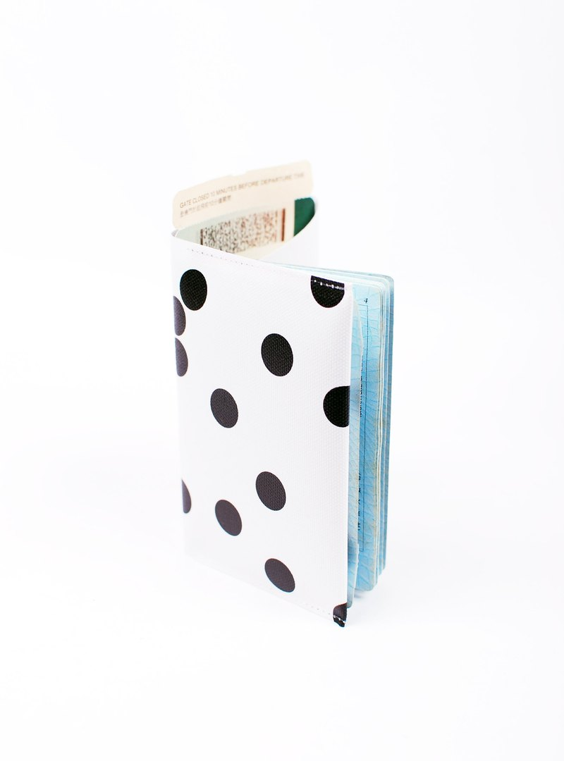 White little black spots. Geometric passport set
