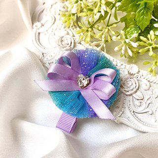 澎澎 Gradient yarn hair clip / blue purple