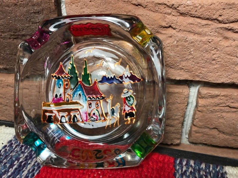 Peruvian style Stained glass ashtray