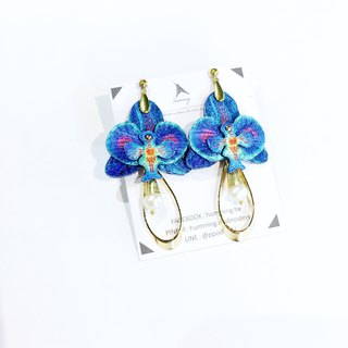 humming-Embroidery earrings | Phalaenopsis - Blue