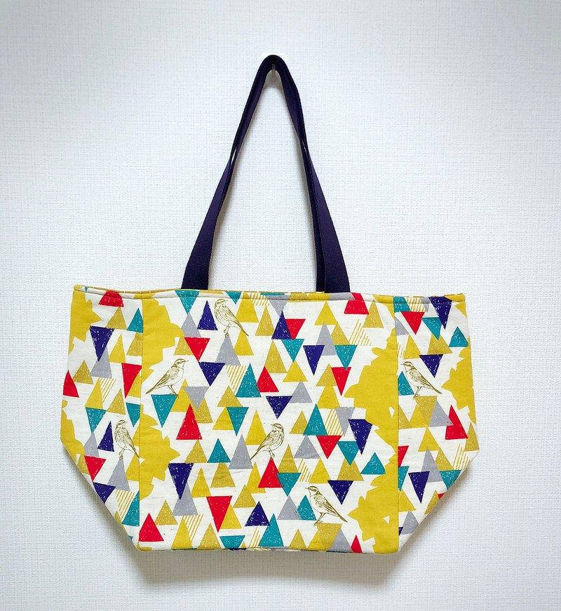 日本印花棉布托特包-寬底-內加鋪棉-黃色三角