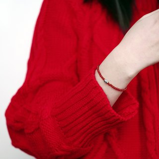 Six-word rumors red onyx bracelet VISHIs925 sterling silver natural single-ring transshipment born female gift