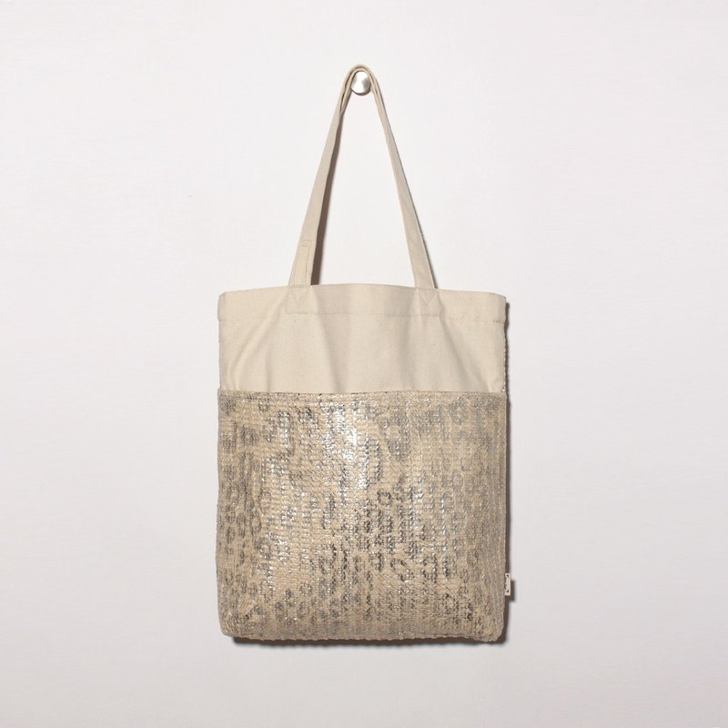 Five-bag canvas bag is especially easy to use - leopard silver vine
