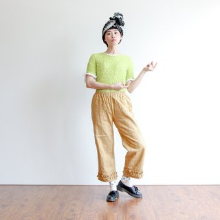 Small sulfur lotus leaves wide pants