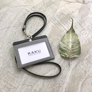 KAKU leather design customized identification card holder clip horizontal gray cross pattern
