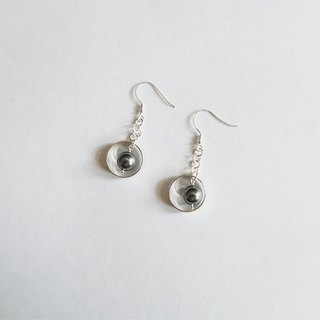 Circle Pearl/Drape-style/Black/Earrings/Swarovski/Sterling Silver/By hand【ZHÀO】SZE1792