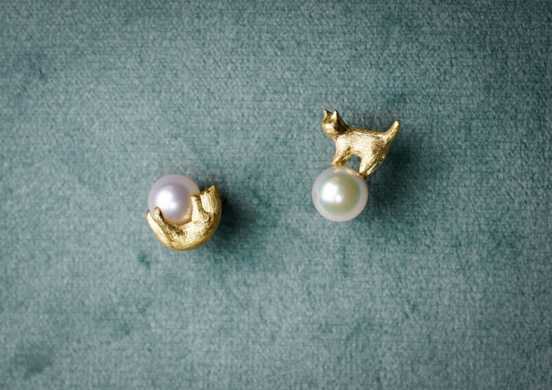【Cats Collection】Earring, 18K gold, Pure gold, pearl