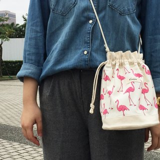 Flamingo / American Cotton print / Shoulder bag  crossbodies  bucket bag